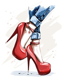 Hand drawn beautiful red shoes with high heels. Fashion accessories. Stylish women shoes. Sketch.