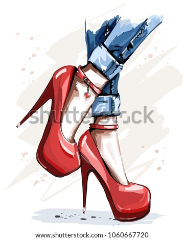 hand drawn beautiful red shoes