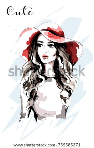 Stock Photo Hand drawn beautiful woman in red hat. Fashion lady. Stylish young woman portrait. Sketch.