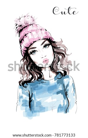 Hand drawn beautiful woman portrait. Fashion woman in knitted hat with pompom. Stylish look. Fashion girl. Sketch.