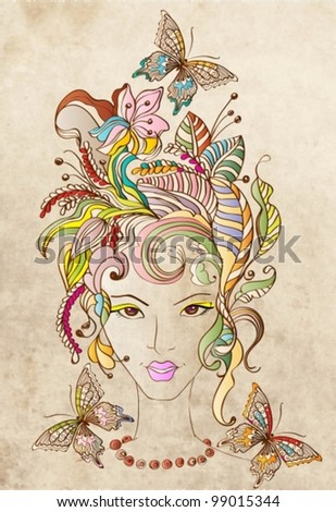 Hand Drawn Beautiful woman with flowers in hair and butterflies, beautiful colorful  vector illustration - stock vector