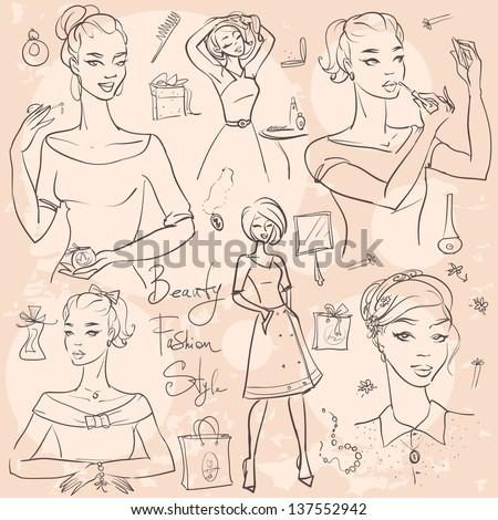 hand drawn beautiful women