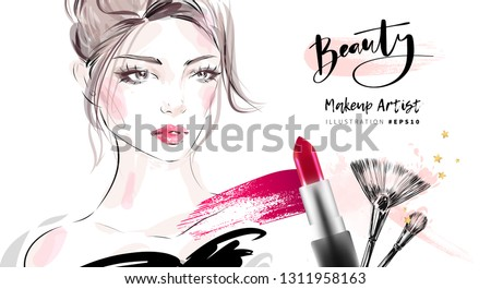 Hand drawn beautiful young woman face makeup with smudged red lipstick and brushes vector fashion illustration for cosmetic sale banner background design, makeup artist business card template.