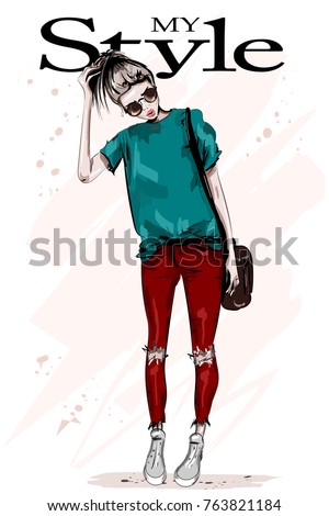 Hand drawn beautiful young woman in fashion clothes. Stylish blond hair woman with bag. Fashion model posing. Sketch. Vector illustration.