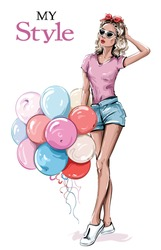 Hand drawn beautiful young woman in sunglasses. Stylish girl with colorful balloons. Fashion woman look. Sketch. Vector illustration.