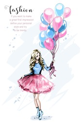 Hand drawn beautiful young woman with colorful balloons. Fashion blond hair woman. Stylish girl. Sketch.