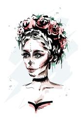 Hand drawn beautiful young woman with santa muerte makeup. Stylish halloween look. Fashion woman portrait. Sketch.