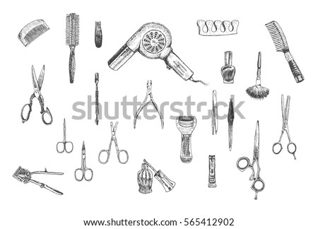Hand Drawn Beauty Hairdressers And Care Manicure Pedicure Tools Professional Set Vector
