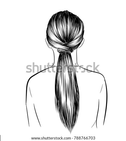 Hand-drawn beauty woman with luxurious classic long ponytail hairstyle.Idea for business card typography vector.Back to school style.Print for t-shirt