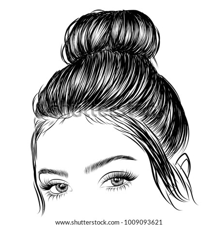 hand drawn beauty woman with