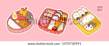 Hand drawn bento boxes. Japanese lunch box. Various traditional asian food. Take-out or home-packed meal. Set of three colored trendy vector illustrations. Kawaii anime design. Pre-made stickers