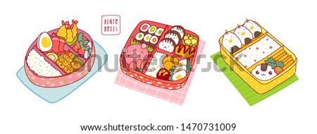 Hand drawn bento boxes. Japanese lunch box. Various traditional asian food. Take-out or home-packed meal. Set of three colored trendy vector illustrations. Kawaii anime design. Cartoon style