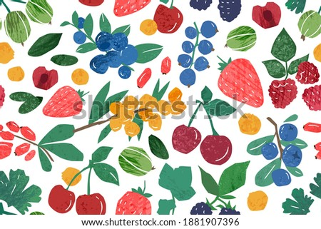 Hand drawn berry branches seamless pattern. Colorful background with fresh ripe berries. Natural juicy edible plants wallpaper template. Vector textured illustration in flat style Foto stock ©