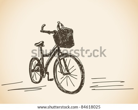Hand drawn bicycle. Visit my portfolio for big collection of hand drawn illustrations