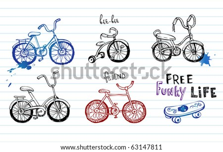 Hand drawn bicycles, set of 5 vector Doodles
