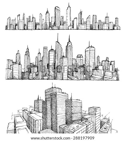 hand drawn big cities