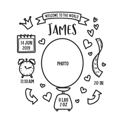 Hand drawn birth announcement. Baby shower related monochrome invitation. Vector vintage illustration.