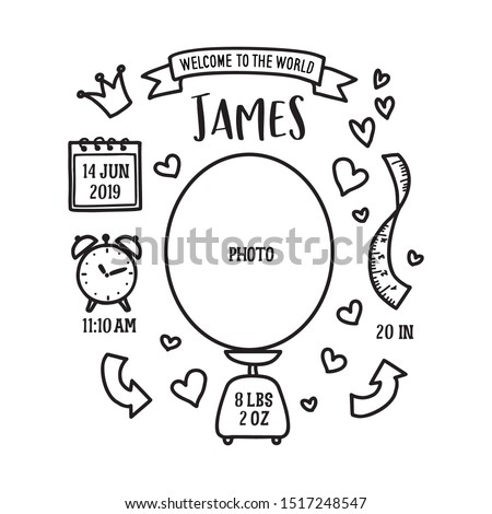 Hand drawn birth announcement. Baby shower related monochrome invitation. Vector vintage illustration. Foto stock ©