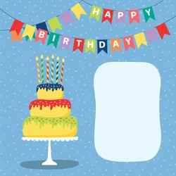 Hand drawn birthday card with a cartoon layer cake with candles, bunting with text, space for copy. Vector illustration. Isolated objects. Design concept for children, birthday celebration.