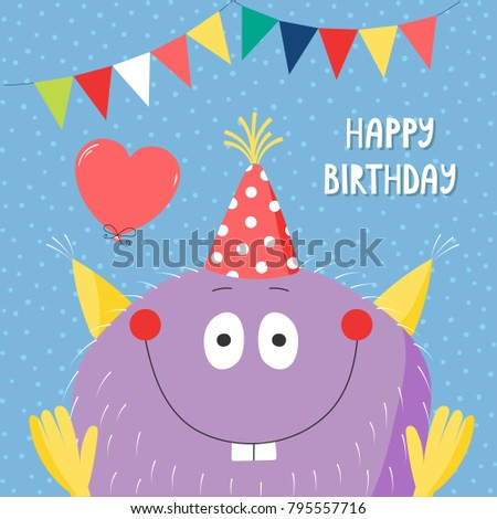 Hand drawn birthday card with cute funny monster in a party hat, with balloon, bunting, typography. Vector illustration. Isolated objects. Design concept for children, birthday celebration.