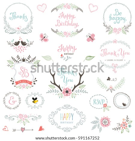 Hand drawn Birthday Party rustic collection with typographic design elements. Ornate motives, branches, wreaths, monograms, frames, antlers and flowers. Vector illustration. #591167252
