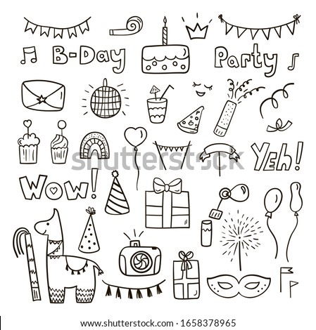 Hand drawn birthday party set isolated on a white background. Doodle black birthday icons. Birthday cake, pinata, rainbow, garland, gift. Vector illustration