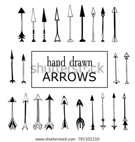 Hand drawn black and white arrows