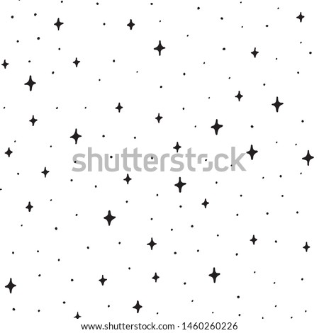Hand Drawn Black and White Doodle star in the space on pattern. Illustrations Drawing Sketch for textile, print, poster, print, design, wallpaper. Black stars is in the white background Stock photo ©