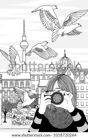 Hand drawn black and white illustration of a young woman taking photos in Berlin, Germany