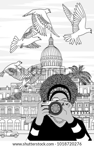 Hand drawn black and white illustration of a young woman taking photos in Havana, Cuba