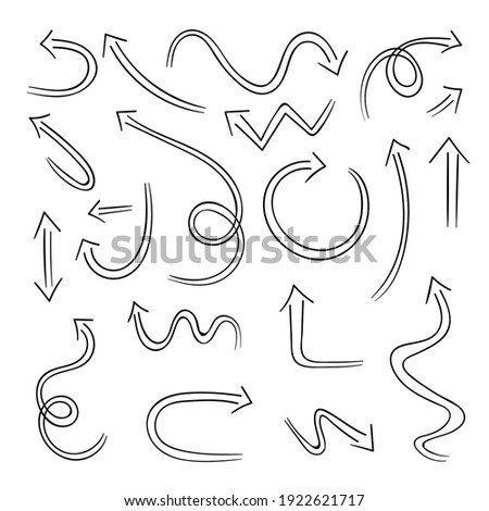 Hand drawn black arrows isolated on white background. Vector illustration design element set.