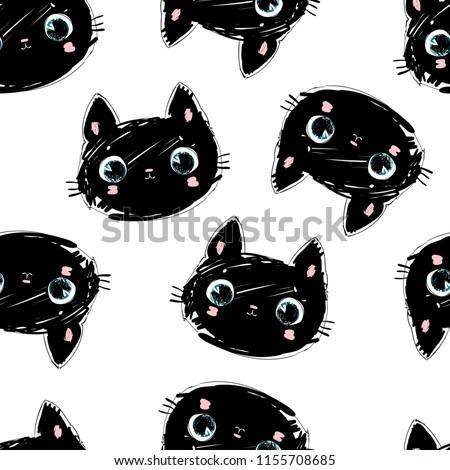 Hand Drawn Black Cat Pattern, Cute kitten vector background