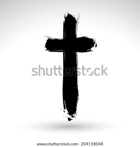 Hand drawn black grunge cross icon simple Christian cross sign hand-painted cross symbol created with real ink brush isolated on white background