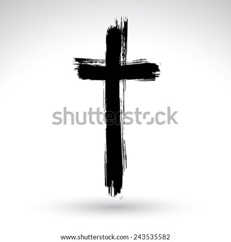 hand drawn black grunge cross