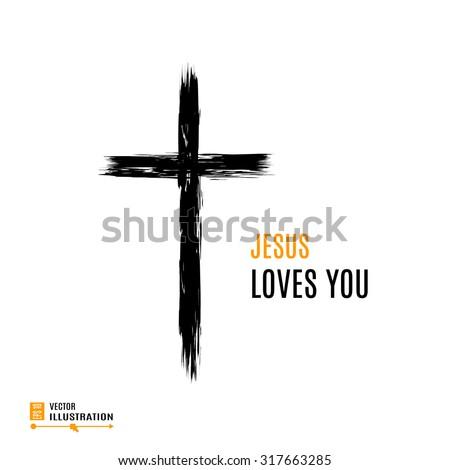 hand drawn black grunge cross