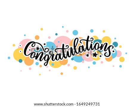 """Hand drawn Black inscription lettering text """"Congratulation"""" colorful balls on white background typography poster for postcard, icon, logo. Vector EPS 10 celebration. Motivational greetings for banner"""