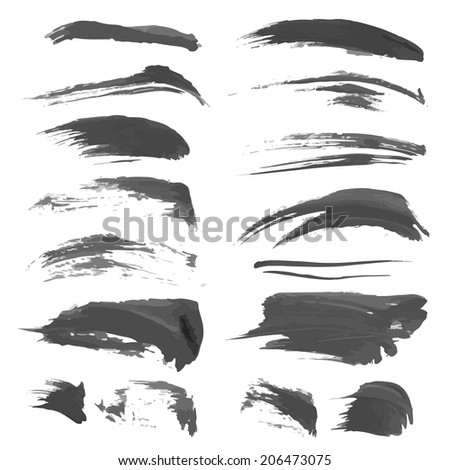 Hand drawn black strokes isolated on a white background 4