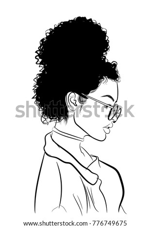 hand drawn black woman with