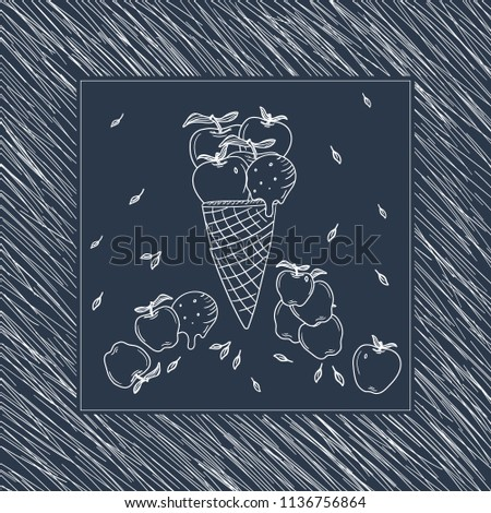 Hand Drawn Blue and White Doodle apple icecream in waffle card. Illustrations Drawing Vector Sketch for textile, print, postcard, text, invitation, poster, background, book, t-shirt, wallpaper