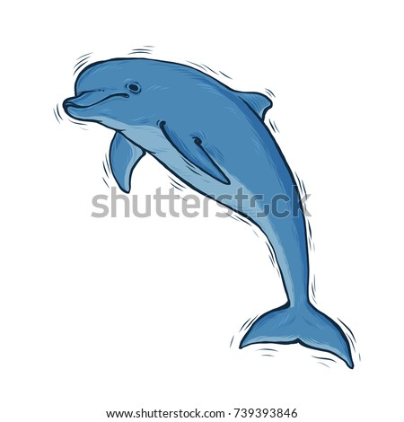hand drawn blue dolphin with