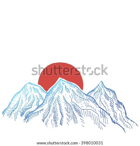 hand drawn blue mountains and