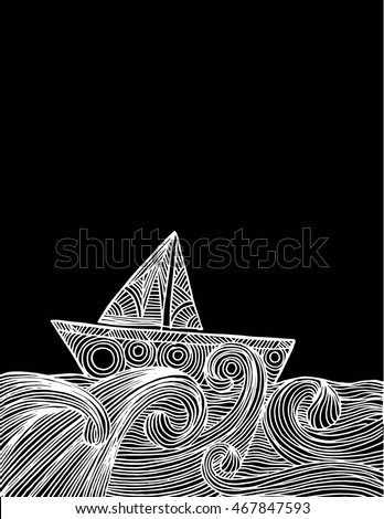 hand drawn boat on the waves