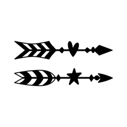Hand drawn boho arrows with heart and star. Rustic wedding decorative elements. Graphic tribal design. Black and white vector illustration isolated on white background.
