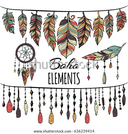 Hand drawn boho collection with feathers, dreamcatcher for design logo, invitation and more. Vector ethnic, aztec, hipster symbols