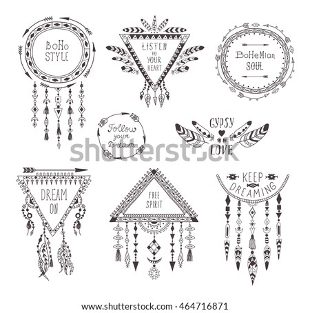 Hand Drawn Boho Style Frames And Decorations Set Of Fashion Ethnic Designs With Motivate Slogan