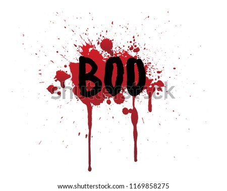 hand drawn boo bloody lettering