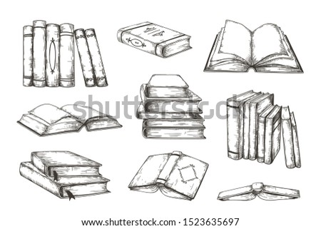 Hand drawn books. Retro image engraved pile and stack of different books, educational illustration for story or novel. Vector vintage decorative ink sketch сlipart design elements set