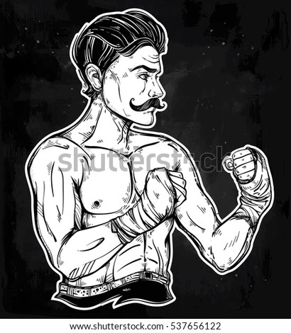 hand drawn boxer fighter