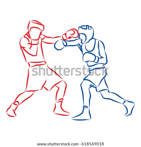hand drawn boxing fighters