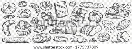 Hand drawn bread doodle set. Collection of pencil chalk drawing sketches of loaves toasts pretzel baguette muffins buns swiss roll bagel donuts on transparent background. Baking food illustration.